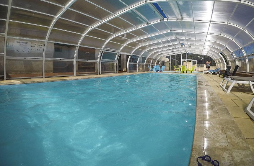inside heated swimming pool camping auvergne